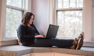 Taryn Wright searches for hoaxes online at her home in Homewood, Illinois. Photograph: Max Herman/Demotix