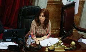 Argentina's vice-president Cristina Fernandez de Kirchner speaks during the debate on the abortion bill.