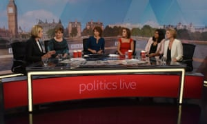 British MPs Amber Rudd and Emily Thornberry, with presenters Jo Coburn, Camilla Tominey, Anushka Asthana and Laura Kuenssberg, appear on Politics Live