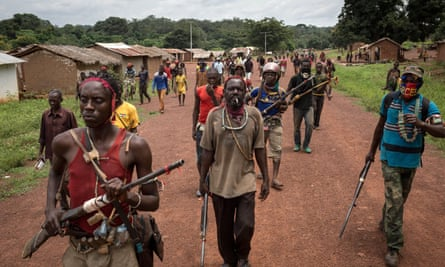 Anti-balaka fighters on the move in the Central African town of Gambo