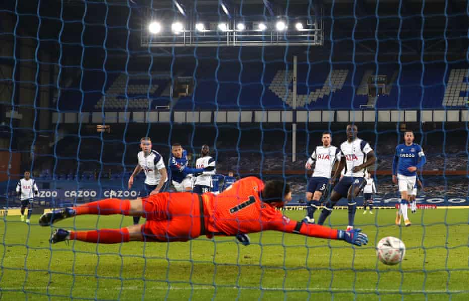 Richarlison scores Everton's second goal during their strength sapping 5-4 extra time win Tottenham Hotspur in the FA Cup.