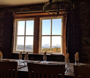 View of mountain from dining room, Moniack Mhor Creative Writing Centre, Scotland