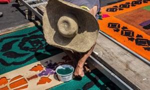 Semana Santa parade carpets made of sawdust in Antigua Guatemala