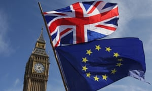 An EU flag and a union flag, with Big Ben in the background.