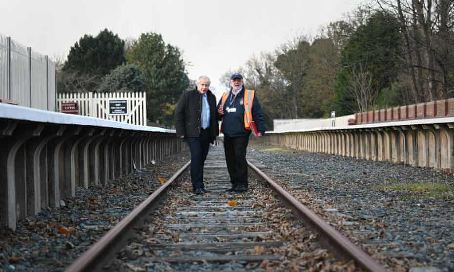 Boris Johnson (left) with local councillor Brian Crawford during a visit to Thornton-Cleveleys Railway Station.
