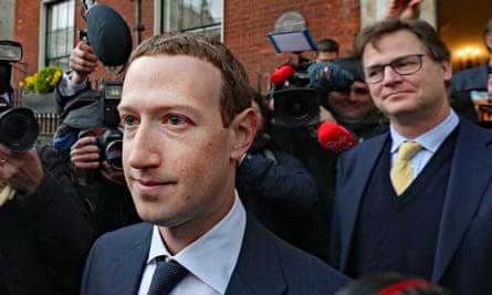 Nick Clegg, right, with Facebook's chief, Mark Zuckerberg, in Dublin