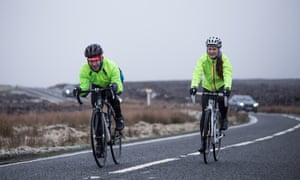 Ellie Ross, right, and fellow cyclist on the roads near Sheffield.