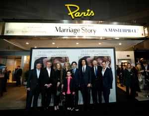 The cast and crew of Marriage Story at Netflix's Paris Theater in New York.