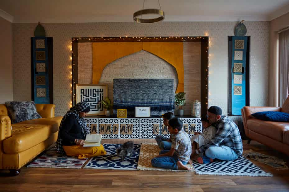15 May: Raheema Caratella reads to her family from the Qur'an.