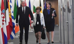 EU's chief Brexit negotiator Barnier with the's DUP Diane Dodds and Arlene Foster in Brussels.