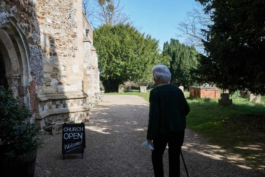 Eleanor Soar, my mother-in-law, visits All Saints church in Holbrook, Suffolk