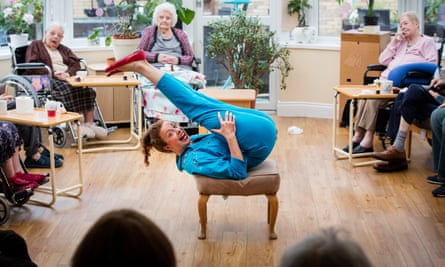 'You've lost it!' … Helen Duff pretends to be a prawn tempura roll in a show for Madelayne Court care home in Essex.