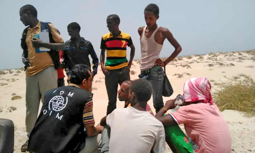 International Organization for Migration staff assist Somali and Ethiopian migrants in Yemen.