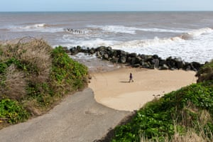 The eroded end of Beach Road, on the cliff edge at Happisburgh in Norfolk.
