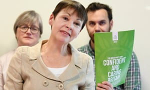 Caroline Lucas launches the 'Green Guarantee'.