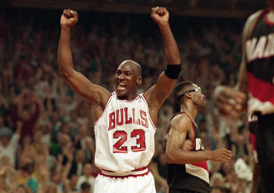 Michael Jordan celebrates his second NBA title in 1992