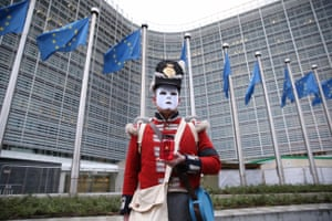 An anti-Brexit demonstrator in front of the EU commission building in Brussels