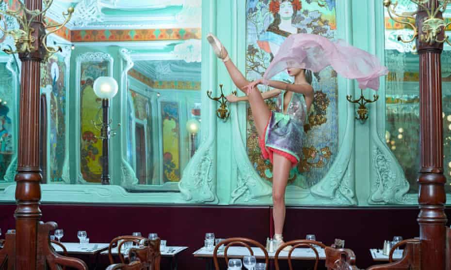 Feeling pumped: a model in Schiaparelli haute couture