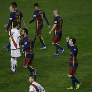 Lionel Messi ejoys the reaction of the Barcelona fans.
