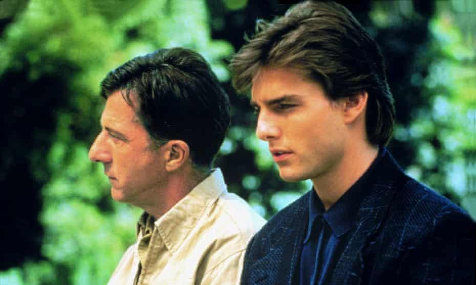 Dustin Hoffman and Tom Cruise as Raymond and Charlie Babbitt.