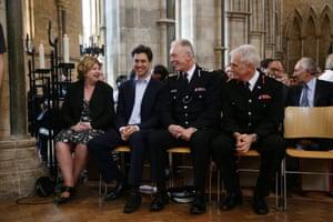 Karen Buck MP, former Labour leader Ed Miliband, Metropolitan Police Commissioner Sir Bernard Hogan-Howe and London Fire Brigade Commissioner Ron Dobson in Southwark Cathedral