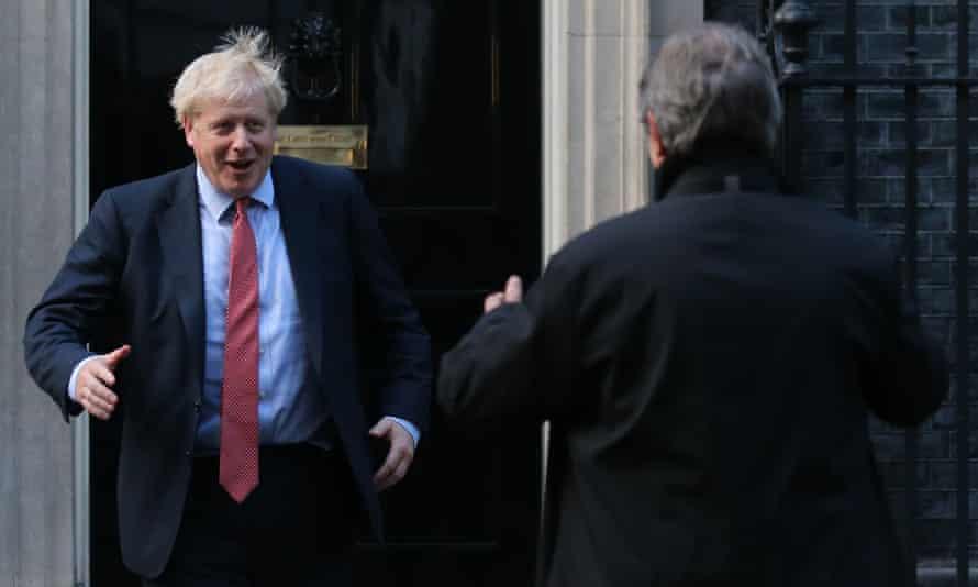 Boris Johnson welcomes European parliament president David Sassoli to Downing Street