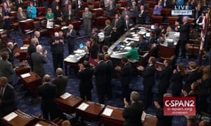 In this image provided by C-SPAN2, John McCain is embraced by the Senate minority leader, Chuck Schumer, as he arrives of the floor of the Senate on Capitol Hill in Washington.