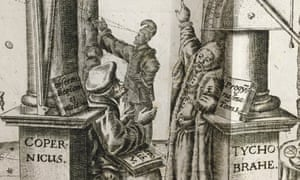 Black and white print; framed by two pillars, a tall one reading 'Copernicus' and a shorter one reading 'Tycho Brahe'.  Three men in renaissance dress are in the centre, two in the foreground apparently in discussion, and a figure in the background making an observation.  A book is propped up on the tall base of the Copernicus pillar, behind one man's head (presumably Copernicus)