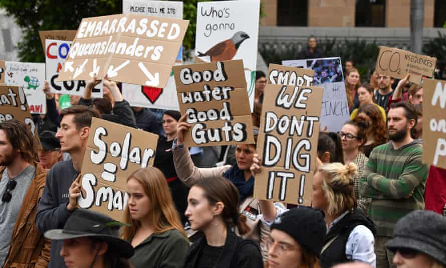 Anti-mining protesters in Brisbane last week