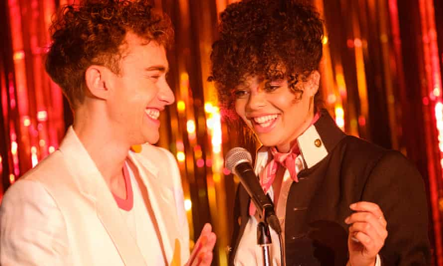 Olly Alexander as Ritchie and Lydia West as Jill in Russell T Davies's drama series It's A Sin.