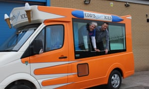 Ed Whitby of Whitby Morrison, right, with the television presenter Edd China in one of the company's first electric ice cream vans.
