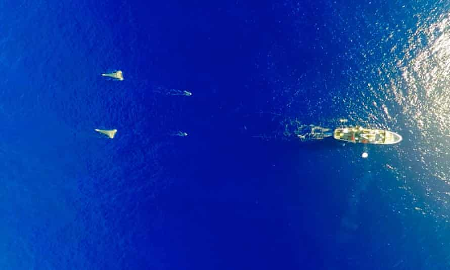 The Mega Expedition mothership deployed above the Great Pacific Garbage Patch.