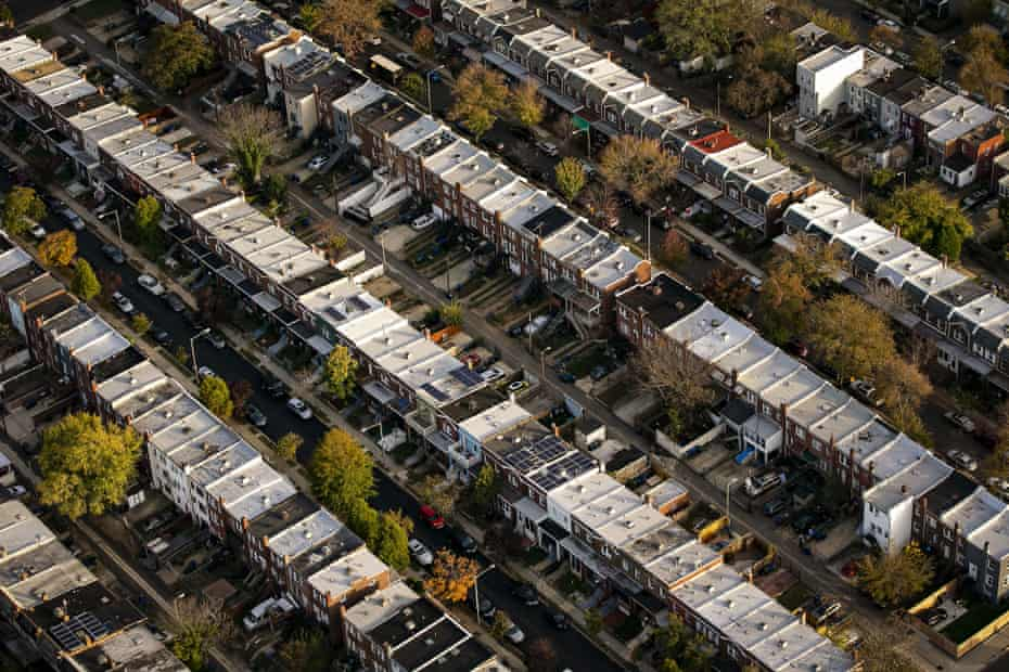 Row houses line streets in Capitol Hill in this aerial photograph taken above Washington, D.C.