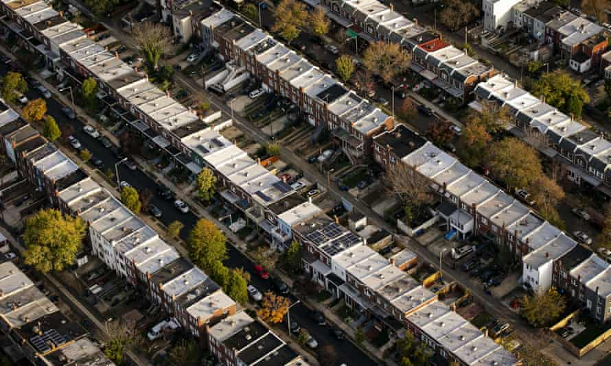 Row houses line streets in Capitol Hill.