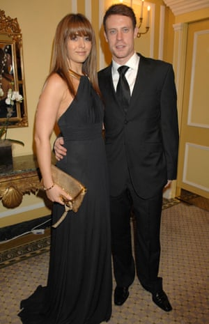 Wayne Bridge and Vanessa Perroncel attend the Cystic Fibrosis' Liv' Charity Event at London's Dorchester hotel in January 2008.