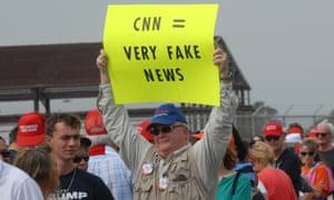 A Donald Trump supporter questions CNN's ethics, Melbourne, Florida, February 2017.