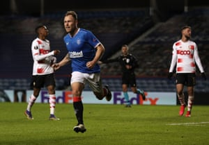 Scott Arfield celebrates after putting Rangers ahead.