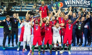 Portugal celebrate winning futsal's Euro 2018, two years after the 11-a-side national team won the European Championship.