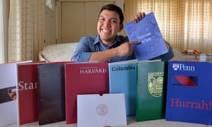 Fernando Rojas, 17, appears with literature from the eight Ivy League universities where he was accepted.