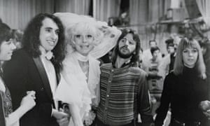 Carol Channing, centre, at NBC's Burbank Studios with Ringo Starr, taping a segment for Rowan and Martin's Laugh-In in 1970. Channing performed at Super Bowl IV and VI.
