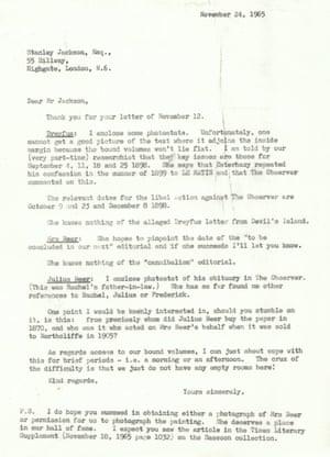 Letter from Tristan Jones to Stanley Jackson regarding Rachel Sassoon Beer. GNM Archive ref: OBS/1/2/1/1/2/2/5