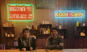 Final Fantasy VII Remake's Naoki Hamaguchi and Yoshinori Kitase at a recreation of in-game bar Seventh Heaven.