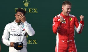 Lewis Hamilton (left) finished second to Sebastian Vettel after a probably software error from Mercedes.