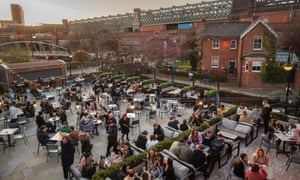 The beer garden at Dukes 92 bar in Manchester, England, on Monday.