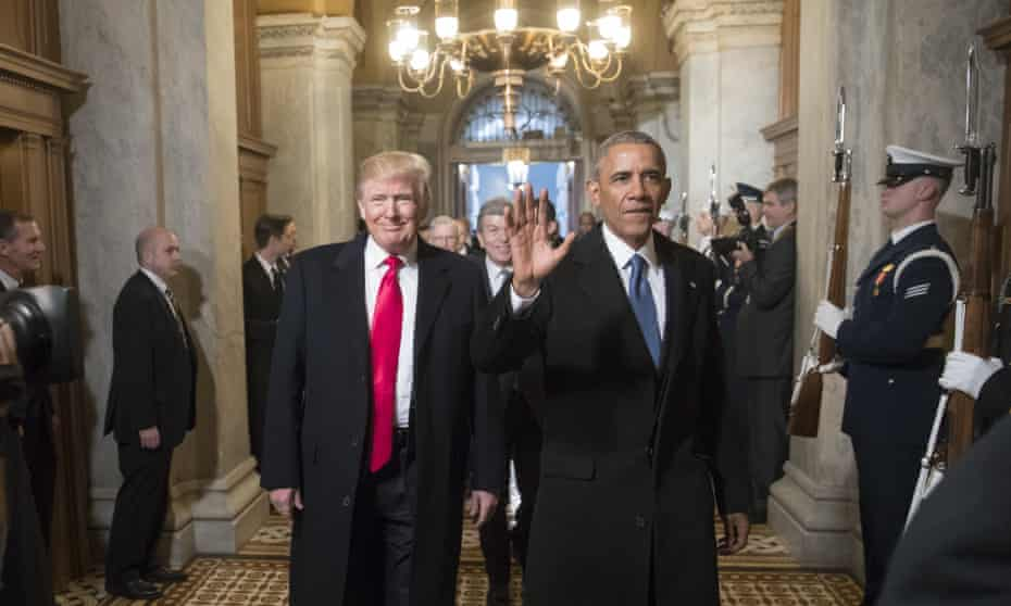 Donald Trump with Barack Obama at Trump's inauguration ceremony at the Capitol in Washington, USA on January 20, 2017.