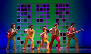 Brandon Lee Sears, Samuel Edwards, Eshan Gopal, Simon Ray Harvey, Simeon Montague as the Jackson 5 in Motown the Musical at Shaftesbury theatre, London