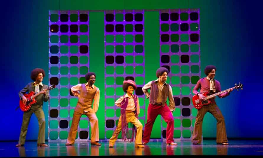 Brandon Lee Sears, Samuel Edwards, Eshan Gopal, Simon Ray Harvey, Simeon Montague as the Jackson 5 in Motown the Musical at Shaftesbury theatre, London