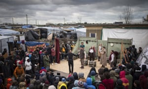 hamlet being performed at the jungle refugee camp in calais, 2016