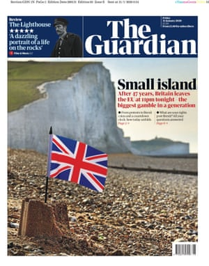 Guardian front page: 'Small island'