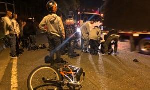 The scene of a gravity biking accident.